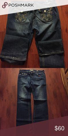 "MEK women's denim ""Portland"" tall 36"" Medium denim jeans with a slightly tan rub and destruction MEK Jeans Boot Cut"