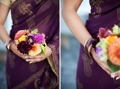 Beautiful native flower bouquets by Lynn Lassiter flowers against deep purple bridesmaids sarees - Daniel Usenko Photography - from Tushani and Trevor's sweet Washington wedding