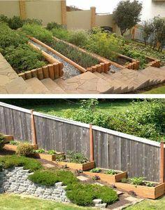 Sloped Backyard Landscaping, Landscaping On A Hill, Sloped Yard, Landscaping Retaining Walls, Backyard Garden Design, Terrace Garden, Backyard Patio, Terraced Landscaping, Landscaping Ideas