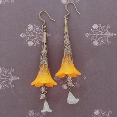 Trumpet Flower Antique Brass Filigree Earrings | Auntie's Beads