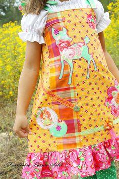Deer Garden Custom applique jumper dress by francoiselamasolet, $125.00