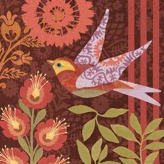 """""""Autumn Birds-Flying"""" By Jennifer Brinley. Decoupage, I Like Birds, Bird Quilt, Bird Illustration, Art Journal Pages, Bird Art, Watercolor Art, Folk Art, Sketches"""
