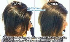 pour espacer les lavages de cheveux, mettez de l'huile essentielle de citron dans votre shampoing