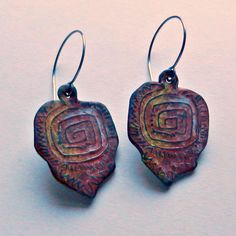 """Labyrinth"" earrings - polymer clay, handmade texture sheet by Christine Damm, Stories They Tell"