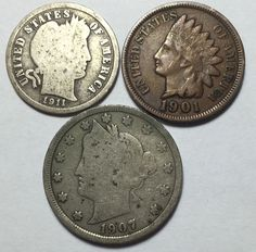 Cool coin lot w/ Barber dime, Indian Head penny + Liberty V 5¢. Take a LOOK!