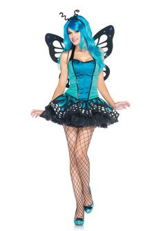 3PCSwallowtail Butterfly includes sequin trimmed satin bustier with halter neck tie layered glitter tulle wing patterned tutu skirt and antennae headband