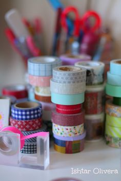 washi on my desk Washi Tapes, Masking Tape, Tape Crafts, Diy Crafts, Snail Mail Pen Pals, Cute Stationary, Fabric Tape, Duck Tape, Live Happy