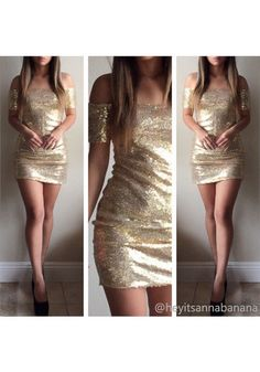 59503727a19e8 Items on Sale  This sparkly bodycon sequins dress is fully embellished with  gold sequins and has a square neckline. It also has a zip fastening at the  back ...