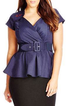 City Chic 'Sweet Swallow' Belted Peplum Top (Plus Size) available at #Nordstrom