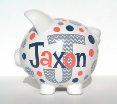 Delivery Before Xmas Chevron Personalized Piggy by SamselDesigns Pottery Painting, Diy Painting, Cool Gifts, Diy Gifts, Penny Bank, Personalized Piggy Bank, Craft Activities For Kids, Craft Ideas, Paint Your Own Pottery