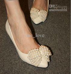 Wholesale Wedding Shoes - Buy Pearl Beading Bowknot 5cm Heel Prom Evening Party Dress Lady Bridal Bridalmaid Wedding Shoes R-8, $48.17 | DHgate