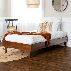 Clean lines and sturdy legs make this solid wood platform twin bed adaptable to a wide variety of styles. Even as you redecorate your bedroom, you don't have to worry about getting a new bed to coordinate with the changes. Bedroom Furniture Stores, Bed Furniture, Furniture Deals, Bedroom Decor, Bedroom Inspo, Bedroom Ideas, Farmhouse Furniture, Bed Ideas, Bedroom Inspiration