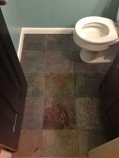 Slate floors in the powder room