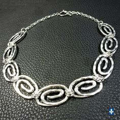 ♥ Amazing Oval Spiral Links Plated Silver Necklace