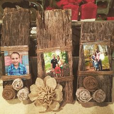 My hand made barn wood picture frames with 100 year old barn wood, twine, and hand made burlap flowers!