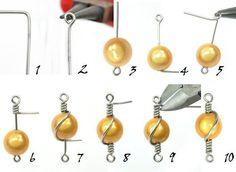 jewelrybeading: Beading Tutorial – Draht mit einer Perle umwickeln jewelrybeading: Beading Tutorial – Wrap Wire with a Pearl, Bijoux Wire Wrap, Wire Wrapped Jewelry, Wire Jewelry, Beaded Jewelry, Jewlery, Silver Jewelry, Jewelry Holder, Jewelry Rings, Jewelry Logo