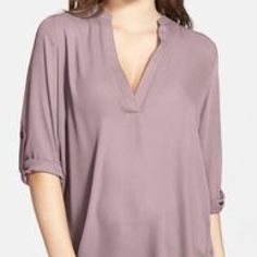 Nordstrom Lavender Blouse Cute barely worn rare Nordstrom lush blouse size s small stain shown in pictures but it's worn with the sleeves roll so the stain is covered Tobi Tops Blouses