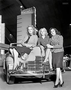 1940 Oldsmobile and cuties at the G M Exhibit, Golden Gate Exposition, 1939.