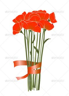 Red Poppies with Ribbon