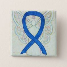 Colon Cancer Blue Awareness Ribbon Angel Custom Art Buttons