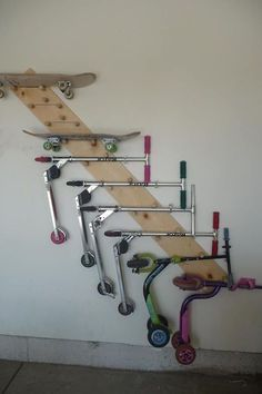 DIY hanging toy organizer for the garage. Look at how much space this saves! BRILLIANT~ Let the kids pull off whatever toy they want and hang it back up.