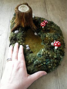 One more needle felted by Lisa Jordan of Li'l Fish Studios; a small scene from the forest, rendered in wool~
