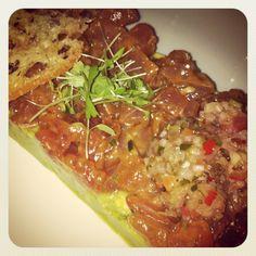 Tuna Tartar and Avocado www.ristoranteotto.com Tuna Tartar, Avocado, Meat, Chicken, Food, Beef, Meal, Essen, Hoods
