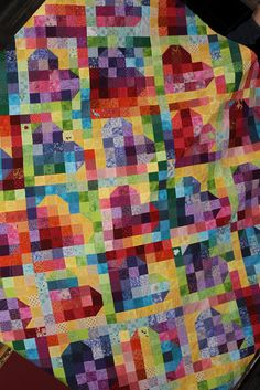 Rainbow heart quilt - needlework, sewing, craft