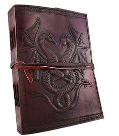 Steampunk Leather Dual Dragons Journal Diary Notebook Sketchbook Scrapbook