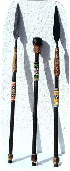 Zulu Beaded Stabbing Spears and War Clubs