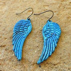 FUN fund - blue patina dainty bird earrings