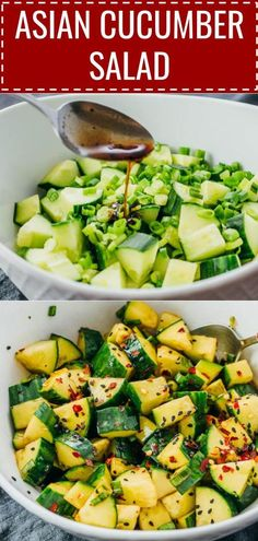 Here's an easy recipe for spicy Asian Cucumber Salad with green onions. The Thai inspired dressing includes soy sauce, sesame oil, vinegar, and crushed red pepper. It's a healthy appetizer meal that's keto, low carb, and gluten free; you can enjoy it for lunches or dinners. It's great for busy families! Click the pin to find the recipe, nutrition, and more photos. #healthy #healthyrecipes #lowcarb #keto #ketorecipes #glutenfree #vegetarian #vegan