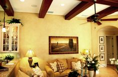 Speir Faux Finishes - Faux wood drywall beams and color washed walls.