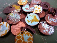 Lucky Penny Charms- intended as Geo-swag, but would be cute SWAPs as well!