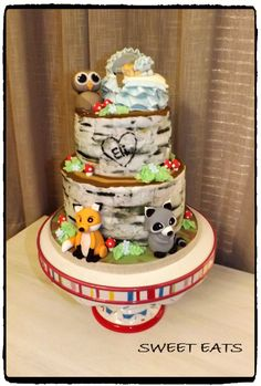 Baby shower woodland cake
