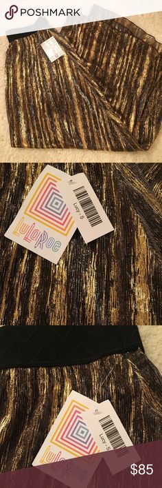LuLaRoe Lucy Small NWT, black/gold/silver, elegant collection, stunning! LuLaRoe Skirts