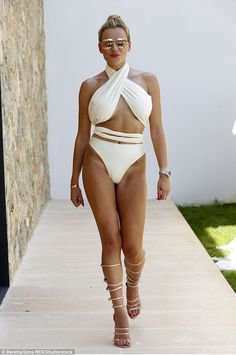 Stunning: On Saturday The Only Way Is Essex Star Georgia Kousoulou proved that she well and truly believes in her Summer Dreams swimwear line, as she and her cast mates dared to bare while posing for publicity shots in sunny Palma, Mallorca