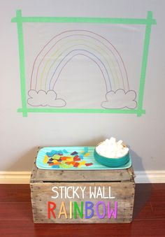 Wall Rainbow Sticky Wall Rainbow Activity - what a mesmerizing and engaging fine motor skill art activity!Sticky Wall Rainbow Activity - what a mesmerizing and engaging fine motor skill art activity! Rainbow Activities, Spring Activities, Toddler Activities, Preschool Activities, Quiet Time Activities, Cotton Ball Activities, Rainbow Learning, Rainbow Games, Preschool Weather