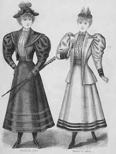 Walking suites 1894 Delineator - in Western fashion - Wikipedia, the free encyclopedia Suit Pattern, Jacket Pattern, 1890s Fashion, Vintage Fashion, Edwardian Fashion, Leg Of Mutton Sleeve, Romantic Period, Gibson Girl, Historical Clothing