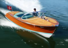 Clasic Riva 1963 yacht. Paiting by Jonas Linell 2016.
