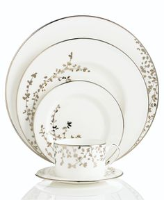 kate spade new york Dinnerware, Gardner Street Platinum 5 Piece Place Setting - Fine China - Dining & Entertaining - Macy's Bridal and Weddi...