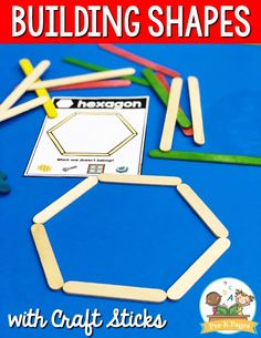 Craft Stick Shapes Building Activity for Preschool Build craft stick shapes with your preschool, pre-k, or kindergarten kids. A fun, hands-on learning activity to go with the book The Greedy Triangle. Preschool Activities At Home, Pre K Activities, Preschool Lessons, Preschool Learning, Learning Activities, Preschool Shapes, Summer Activities For Preschoolers, Preschool Schedule, Sensory Activities