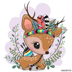Cartoon Fawn with feathers on a blue background. Cute Cartoon Fawn with feathers on a blue background royalty free illustration Cute Cartoon Pictures, Cute Cartoon Girl, Cute Cartoon Animals, Cute Pictures, Cute Animals, Cartoon Drawings, Cute Drawings, Animal Drawings, Image Clipart