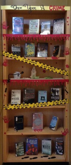 Once Upon a Crime, mystery books library display, or library bulletin board with…