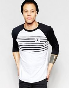 Converse - T-shirt à manches longues rayées