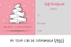 Christmas Gift Certificate Templates that can be personalized for free! Free Christmas Gifts, Free Christmas Printables, Christmas Templates, Homemade Christmas Gifts, Free Gift Certificate Template, Gift Certificates, Christmas Gift Certificate Template, Custom Made Gift, Appreciation Gifts