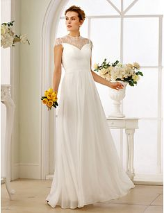 A-Line   Princess Illusion Neck Floor Length Chiffon   Lace Made-To-Measure Wedding  Dresses with Sashes   Ribbons   Criss Cross by LAN TING BRIDE®   See- ... 62cf9769d94e