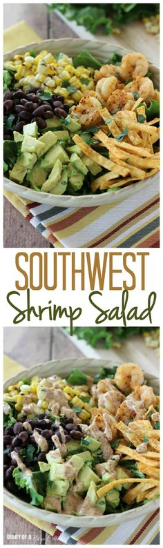 Southwest Shrimp Salad – Grilled shrimp and corn, black beans, diced avocado, and crispy southwest tortilla strips piled onto a bed of green leaf lettuce and topped with a mexi-ranch dressing.