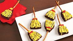 These witches' broomsticks made with Betty Crocker® fudge brownie mix will fly off the plate at your Halloween party – an easy dessert recipe!