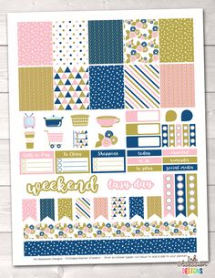 Pink Gold Blue Printable Planner Stickers Weekly Kit – Instant Download PDF for your Erin Condren Life Planner